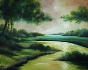 Abstract Realism Paintings - Emerald Forest by James Christopher Hill