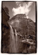 Black Posters - Emerald Pools Falls Zion National Park Poster by Steve Gadomski