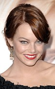 Hair Bun Framed Prints - Emma Stone At Arrivals For Premiere Framed Print by Everett