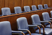 Trial Prints - Empty Jury Seats in Courtroom Print by Jeremy Woodhouse