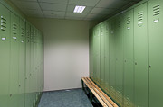 Dressing Room Metal Prints - Empty Locker Room Metal Print by Jaak Nilson