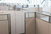 Office Cubicle Framed Prints - Empty Office Cubicles Framed Print by Jetta Productions, Inc