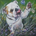 Pup Painting Framed Prints - English Bulldog Framed Print by Lee Ann Shepard