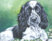 Spaniel Puppy Paintings - English Cocker Spaniel by Lee Ann Shepard