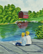 Country Painting Originals - Enjoying A Country Day by Charlotte Blanchard
