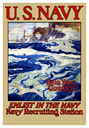 Us Navy Framed Prints - Enlist In The Navy Framed Print by War Is Hell Store
