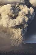 Craters Prints - Eruption Of Ash Cloud From Mount Bromo Print by Richard Roscoe