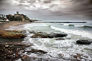 Storm Clouds; Sunset; Twilight; Water Metal Prints - Estoril Coastline Metal Print by Carlos Caetano