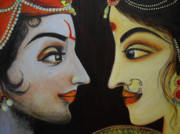 Radha Metal Prints - Eternal Lovers - Radha Krishna Metal Print by Rashmi Rao