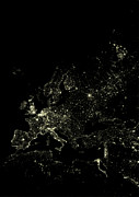 Urban City Areas Photos - Europe At Night, Satellite Image by Planetobserver