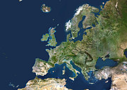 Cartography Photos - Europe, Satellite Image by Planetobserver