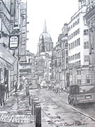 Europe Drawings Originals - European City Street by David Garren