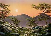 Pacific Crest Trail Paintings - Evening Moonrise by Frank Wilson