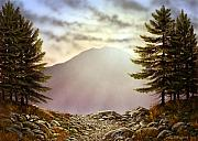 Setting Painting Framed Prints - Evening Trail Framed Print by Frank Wilson
