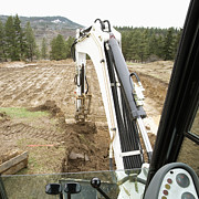 Construction Equipment Prints - Excavator at a Construction Site Print by Andersen Ross