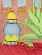 Reptiles Drawings - Exploring by Judy Cheryl Newcomb