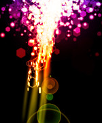Artistic Digital Art Prints - Explosion Of Lights Print by Setsiri Silapasuwanchai