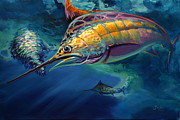 Billfish Painting Prints - Eye On The Ball Print by Mike Savlen