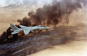 Operation Desert Storm Framed Prints - F-14 Fighter In Flight Over Burning Framed Print by Everett