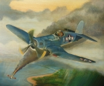 Corsair Fighter Paintings - F4U Corsair by Stuart Swartz