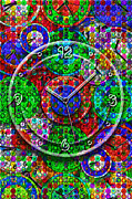 Vibrant Color Digital Art - Faces of Time 3 by Mike McGlothlen