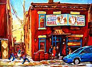 Quebec Streets Painting Posters - Fairmount Bagel in Winter Poster by Carole Spandau