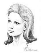 Celebrity Portrait Drawings Posters - Faith Hill Poster by Murphy Elliott