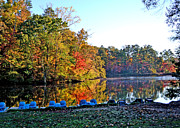 Fall Scenes Framed Prints - Fall at the Lake Framed Print by Larry Bishop