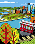 Duquesne Incline Digital Art Prints - Fall from above II Print by Ron Magnes