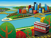 Pittsburgh Digital Art Prints - Fall from above rendered Print by Ron Magnes