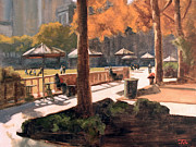 Bryant Park Painting Framed Prints - Fall in Bryant Park Framed Print by Tate Hamilton