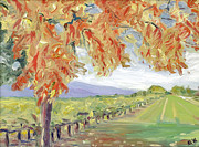 Napa Valley In Fall Paintings - Fall in Napa Valley by Barbara Anna Knauf