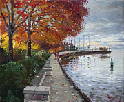 River Walk Paintings - Fall in Port Credit ON by Ylli Haruni