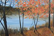 """fall Foliage"" Paintings - Fall n Lake by Pete Maier"
