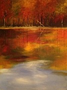 Large Scale Painting Posters - Fall Reflection Poster by Sandra Strohschein