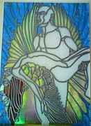 God Glass Art Originals - Fallen angel by Robin Jeffcoate