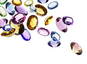 Color  Colorful Jewelry Prints - Falling Gems Print by Setsiri Silapasuwanchai