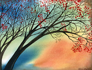 Leaves Paintings - Falling with Grace by Laura Shepler