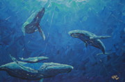 Whales Paintings - Family by Nick Flavin
