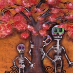 Skulls Paintings - Family Tree by  Abril Andrade Griffith