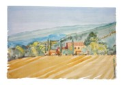 Farm Fields Painting Originals - Farm in Provence by Kostas Koutsoukanidis
