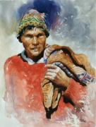 Peru Paintings - Farmer by Oscar Cuadros