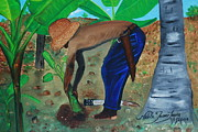Haitian Paintings - Farmer Planting Banana Tree by Nicole Jean-Louis