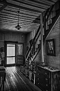 Ladder Back Chairs Metal Prints - Farmhouse Entry Hall and Stairs Metal Print by Lynn Palmer