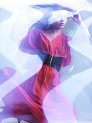 Glass Wall Photo Posters - Fashion Photo of a Woman in Shining Blue Settings Wearing a Red  Poster by Oleksiy Maksymenko