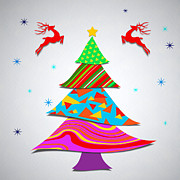 Christmas Tree Prints - Fashion Xmas Print by Atiketta Sangasaeng