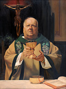 Crucifix Paintings - Father Tom Butler by Anna Bain