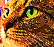Feline Face Abstract Print by David G Paul