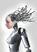 Automated Framed Prints - Female Cyborg, Artwork Framed Print by Victor Habbick Visions