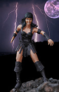 Action Figure Framed Prints - Female Warrior Doll Action Figure  Framed Print by Randy Steele